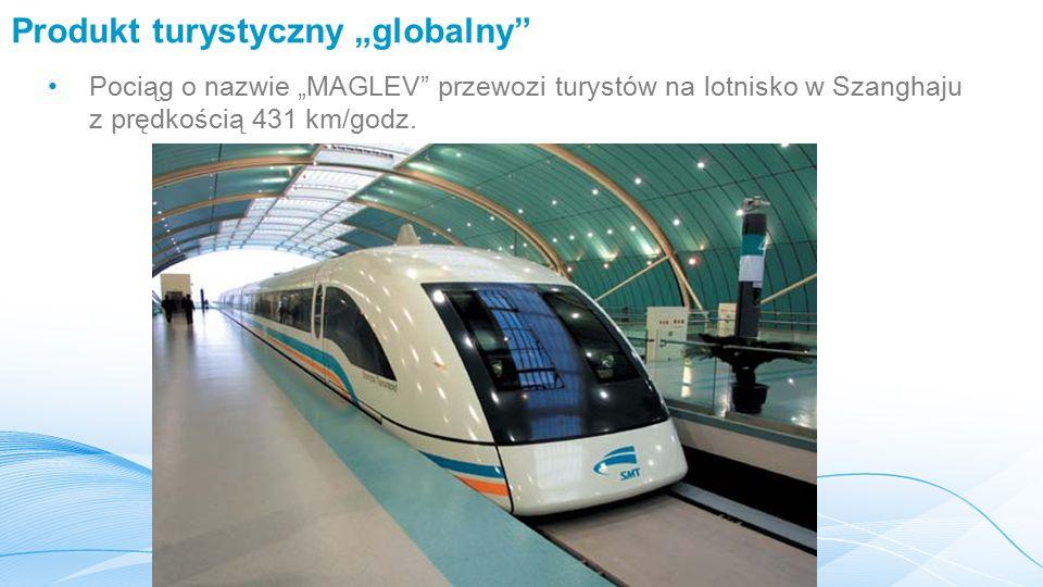 """Produkt turystyczny """"globalny Pociąg o nazwie """"MAGLEV przewozi turystów na lotnisko w Szanghaju z prędkością 431 km/godz."""