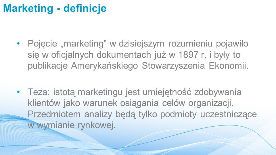 """Marketing - definicje Pojęcie """"marketing w dzisiejszym rozumieniu pojawiło się w oficjalnych dokumentach już w 1897 r."""