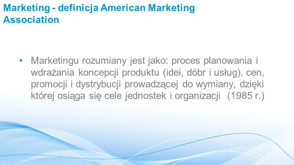 Marketing - definicja American Marketing Association Marketingu rozumiany jest jako: proces planowania i wdrażania koncepcji produktu (idei, dóbr i usług), cen, promocji i dystrybucji prowadzącej do wymiany, dzięki której osiąga się cele jednostek i organizacji (1985 r.)