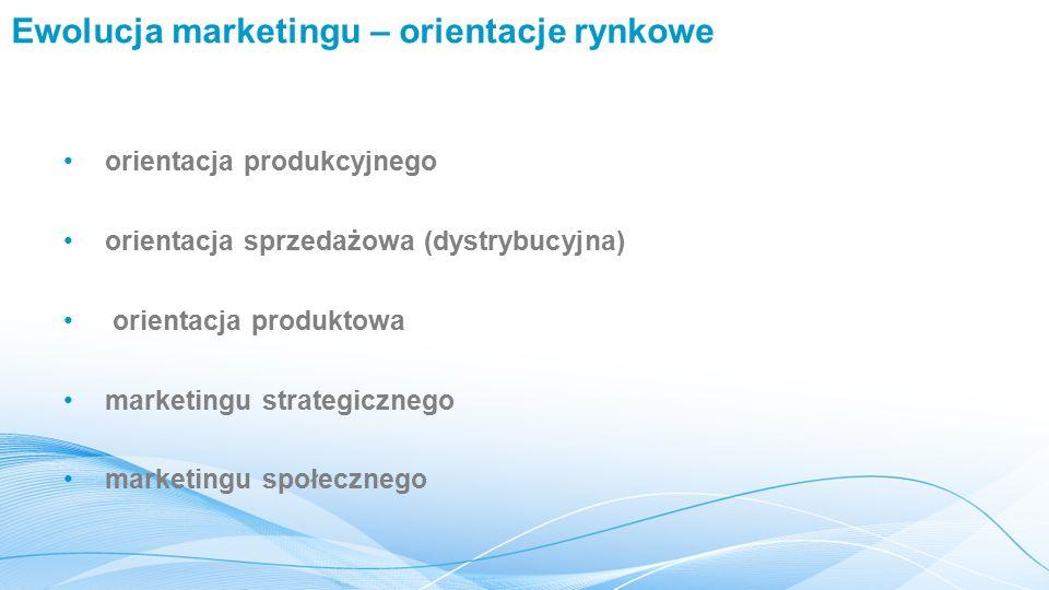 Ewolucja marketingu – orientacje rynkowe orientacja produkcyjnego orientacja sprzedażowa (dystrybucyjna) orientacja produktowa marketingu strategicznego marketingu społecznego