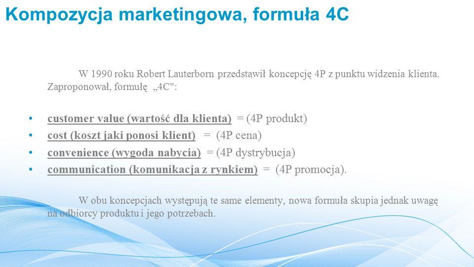 Kompozycja marketingowa, formuła 4C W 1990 roku Robert Lauterborn przedstawił koncepcję 4P z punktu widzenia klienta.