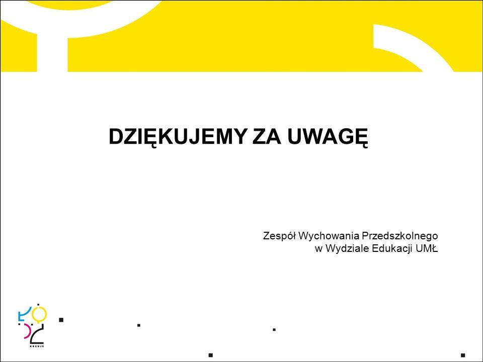 DZIĘKUJEMY ZA UWAGĘ Zespół Wychowania Przedszkolnego w Wydziale Edukacji UMŁ