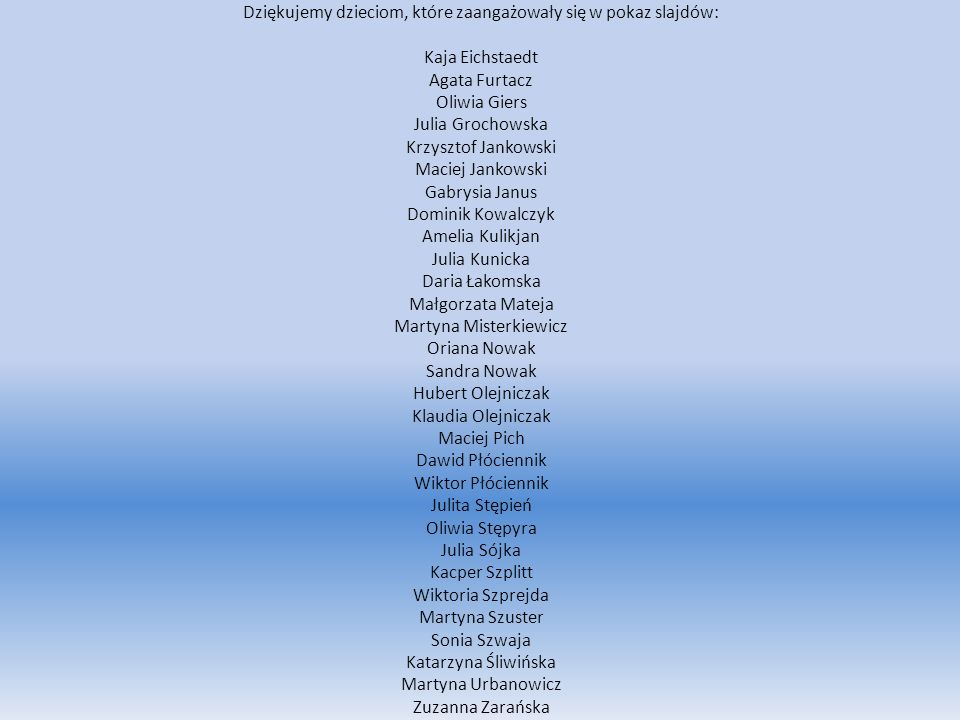 Dziękujemy dzieciom, które zaangażowały się w pokaz slajdów: Kaja Eichstaedt Agata Furtacz Oliwia Giers Julia Grochowska Krzysztof Jankowski Maciej Ja