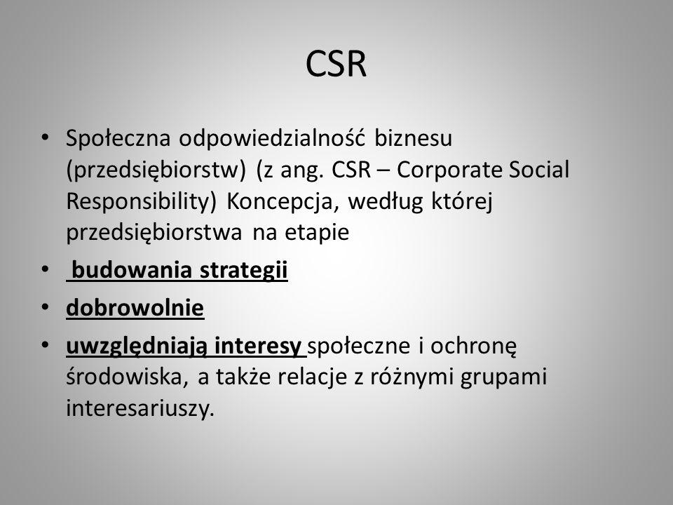 CSR Społeczna odpowiedzialność biznesu (przedsiębiorstw) (z ang.