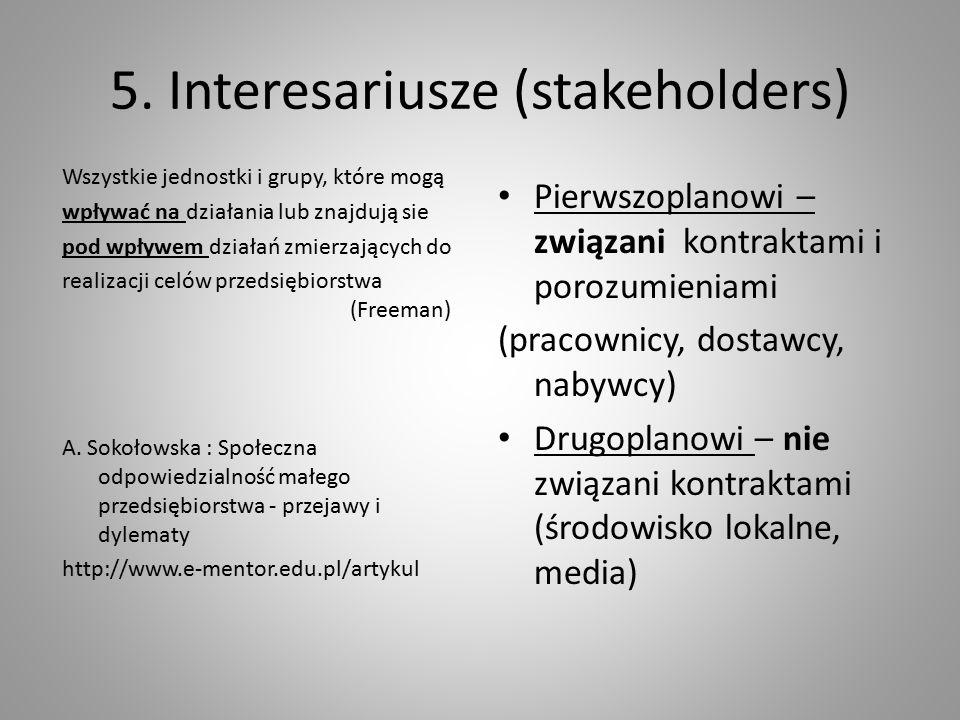 5. Interesariusze (stakeholders) Wszystkie jednostki i grupy, które mogą wpływać na działania lub znajdują sie pod wpływem działań zmierzających do re