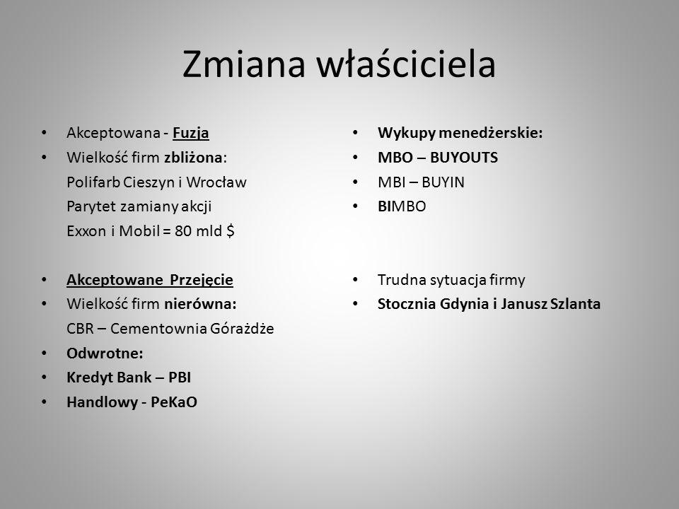 Zmiana właściciela Akceptowana - Fuzja Wielkość firm zbliżona: Polifarb Cieszyn i Wrocław Parytet zamiany akcji Exxon i Mobil = 80 mld $ Akceptowane Przejęcie Wielkość firm nierówna: CBR – Cementownia Górażdże Odwrotne: Kredyt Bank – PBI Handlowy - PeKaO Wykupy menedżerskie: MBO – BUYOUTS MBI – BUYIN BIMBO Trudna sytuacja firmy Stocznia Gdynia i Janusz Szlanta