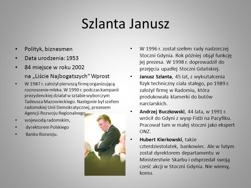 """Szlanta Janusz Polityk, biznesmen Data urodzenia: 1953 84 miejsce w roku 2002 na """"Liście Najbogatszych Wprost W 1987 r."""
