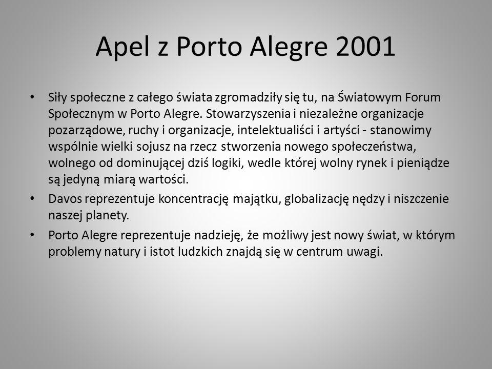 Apel z Porto Alegre 2001 Siły społeczne z całego świata zgromadziły się tu, na Światowym Forum Społecznym w Porto Alegre.