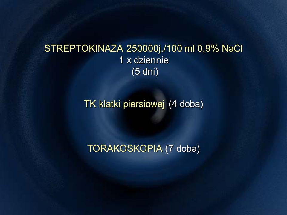 STREPTOKINAZA 250000j./100 ml 0,9% NaCl 1 x dziennie (5 dni) TK klatki piersiowej (4 doba) TORAKOSKOPIA (7 doba)