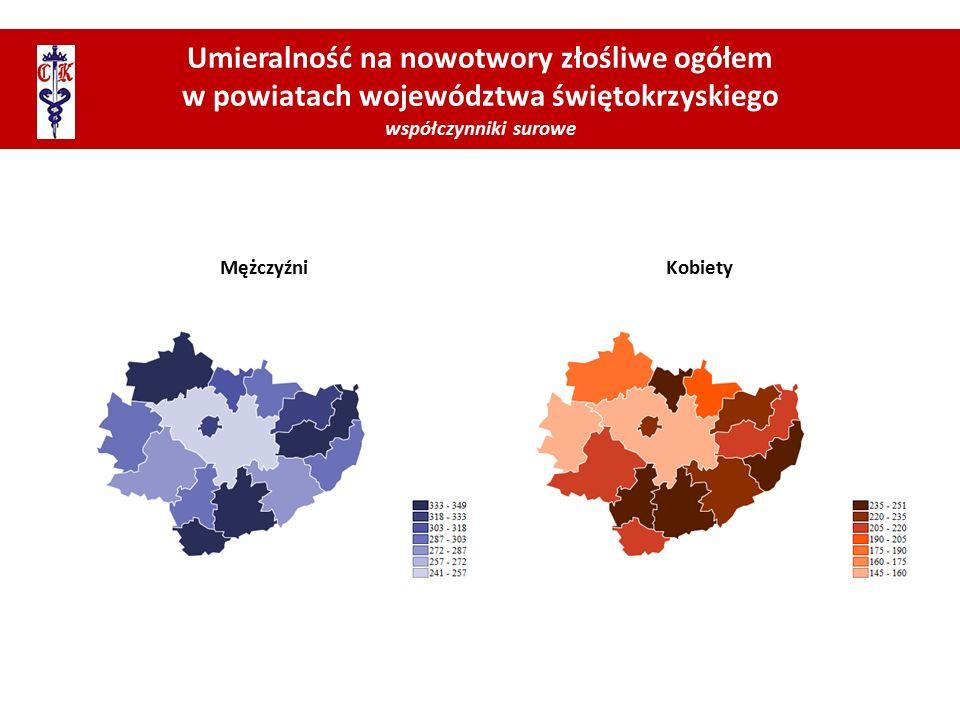 Umieralność na nowotwory złośliwe ogółem w powiatach województwa świętokrzyskiego współczynniki surowe MężczyźniKobiety