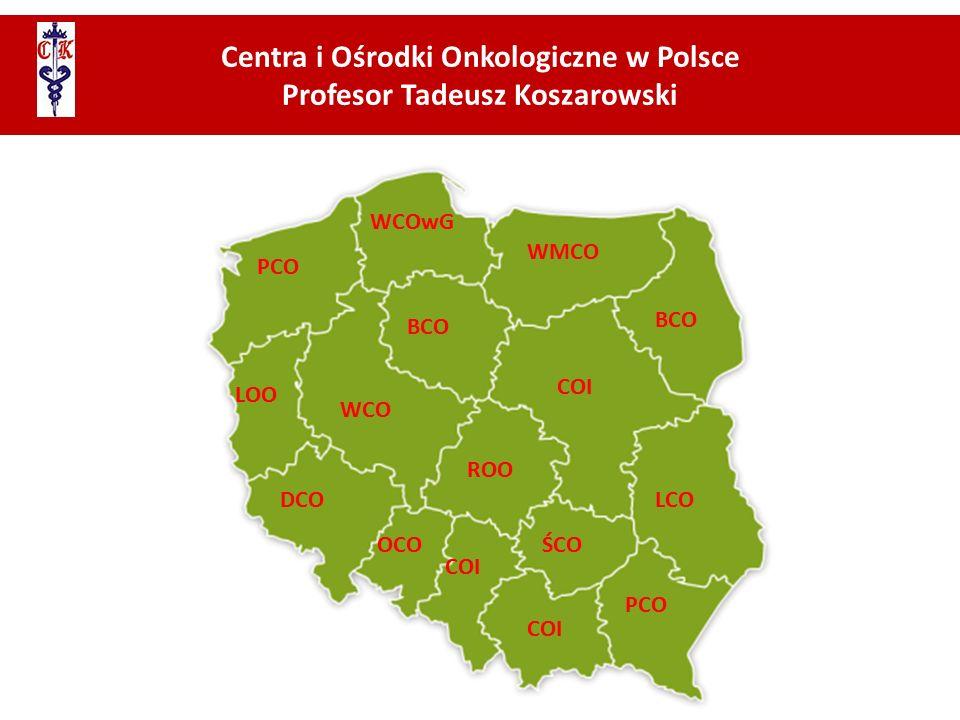 Centra i Ośrodki Onkologiczne w Polsce Profesor Tadeusz Koszarowski ŚCO WCO COI OCO WMCO ROO LOO BCO PCO DCO WCOwG LCO BCO PCO