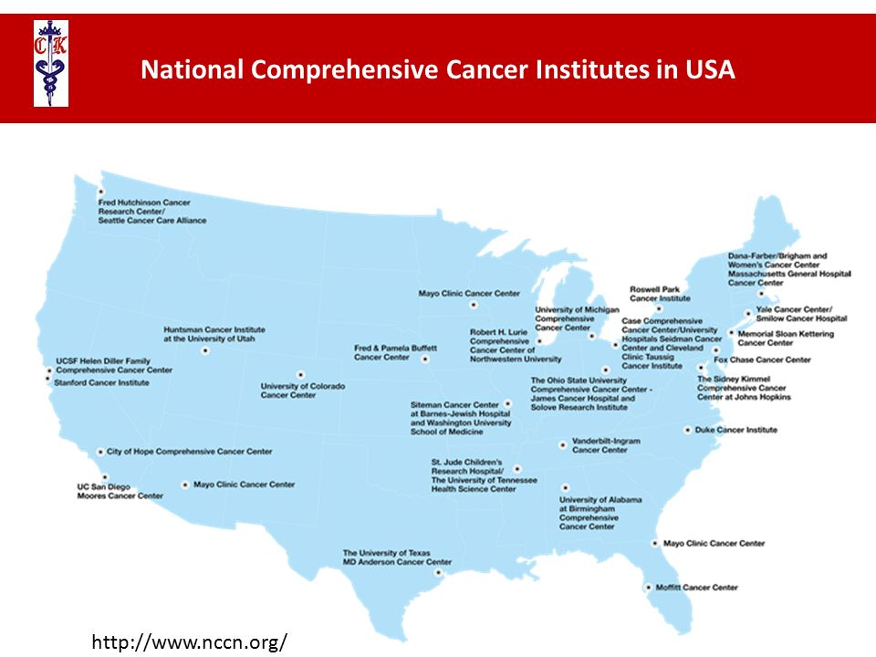 National Comprehensive Cancer Institutes in USA http://www.nccn.org/