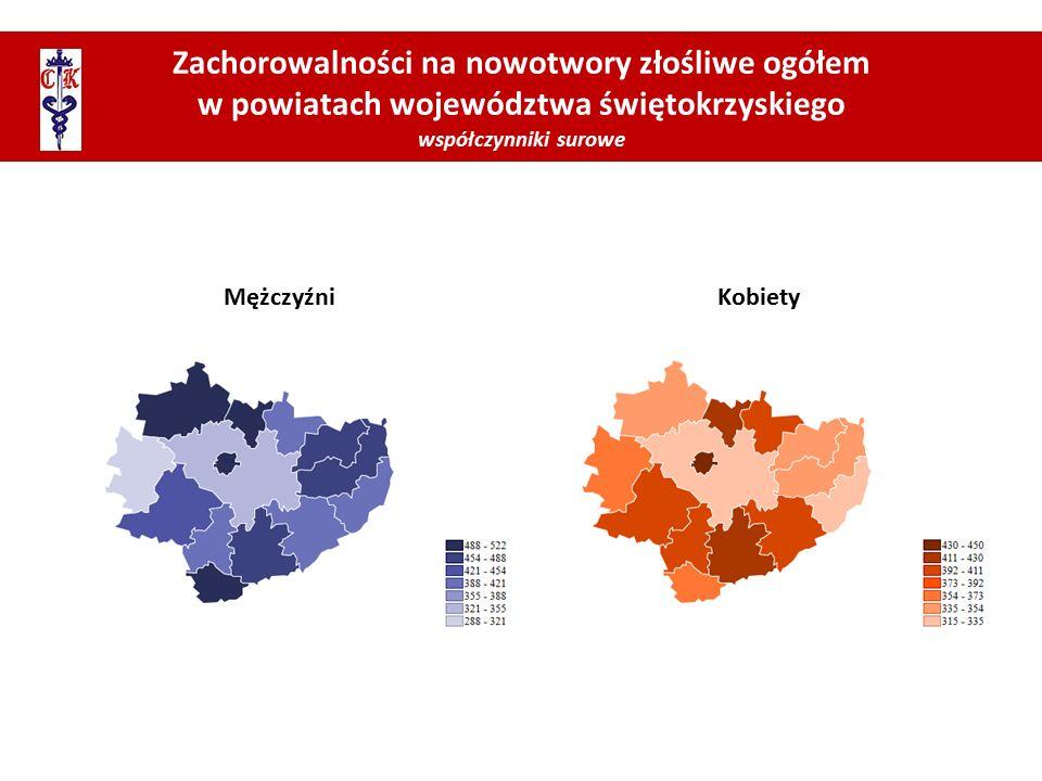 Zachorowalności na nowotwory złośliwe ogółem w powiatach województwa świętokrzyskiego współczynniki surowe MężczyźniKobiety