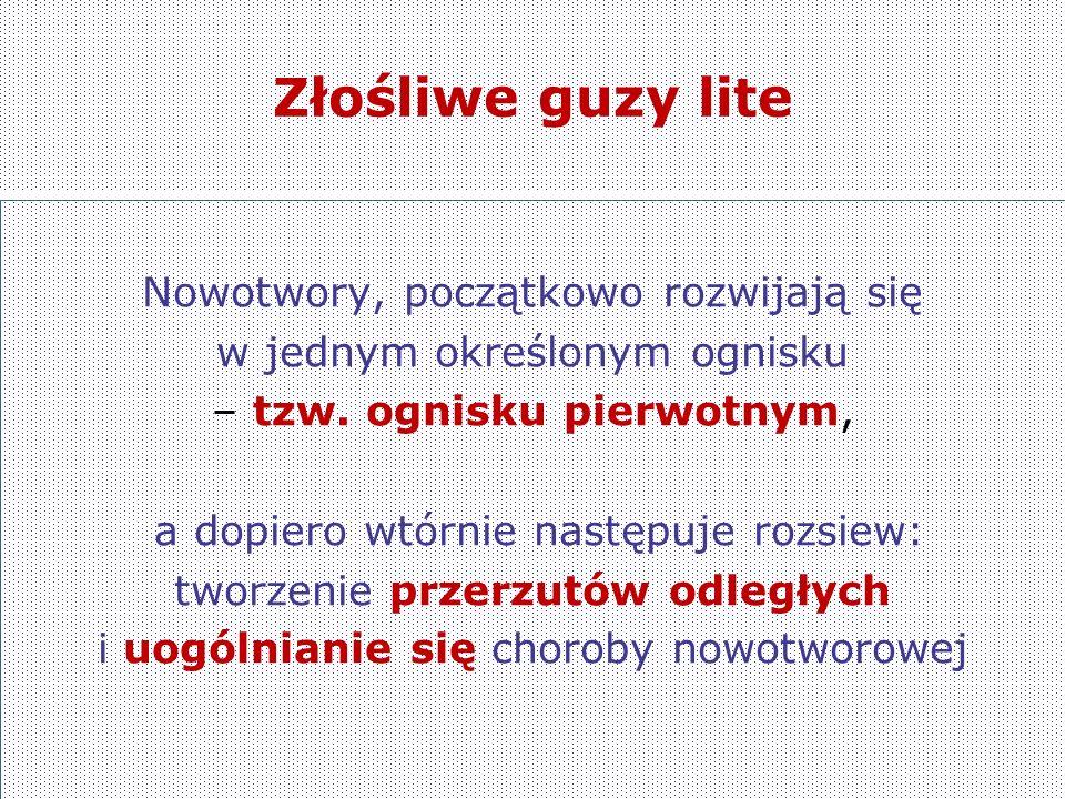 Złośliwe guzy lite Nowotwory, początkowo rozwijają się w jednym określonym ognisku – tzw.