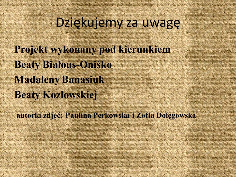 Dziękujemy za uwagę Projekt wykonany pod kierunkiem Beaty Białous-Oniśko Madaleny Banasiuk Beaty Kozłowskiej autorki zdjęć: Paulina Perkowska i Zofia Dołęgowska