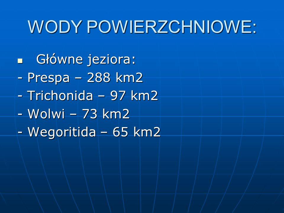 WODY POWIERZCHNIOWE: Główne jeziora: Główne jeziora: - Prespa – 288 km2 - Trichonida – 97 km2 - Wolwi – 73 km2 - Wegoritida – 65 km2