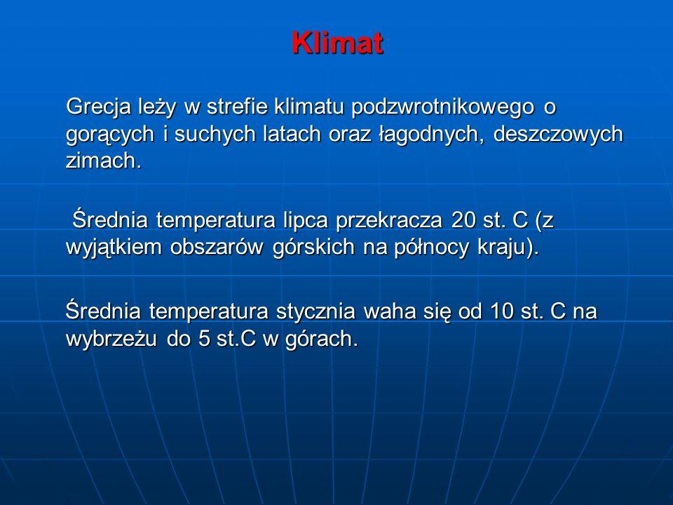 Klimat Grecja leży w strefie klimatu podzwrotnikowego o gorących i suchych latach oraz łagodnych, deszczowych zimach. Średnia temperatura lipca przekr