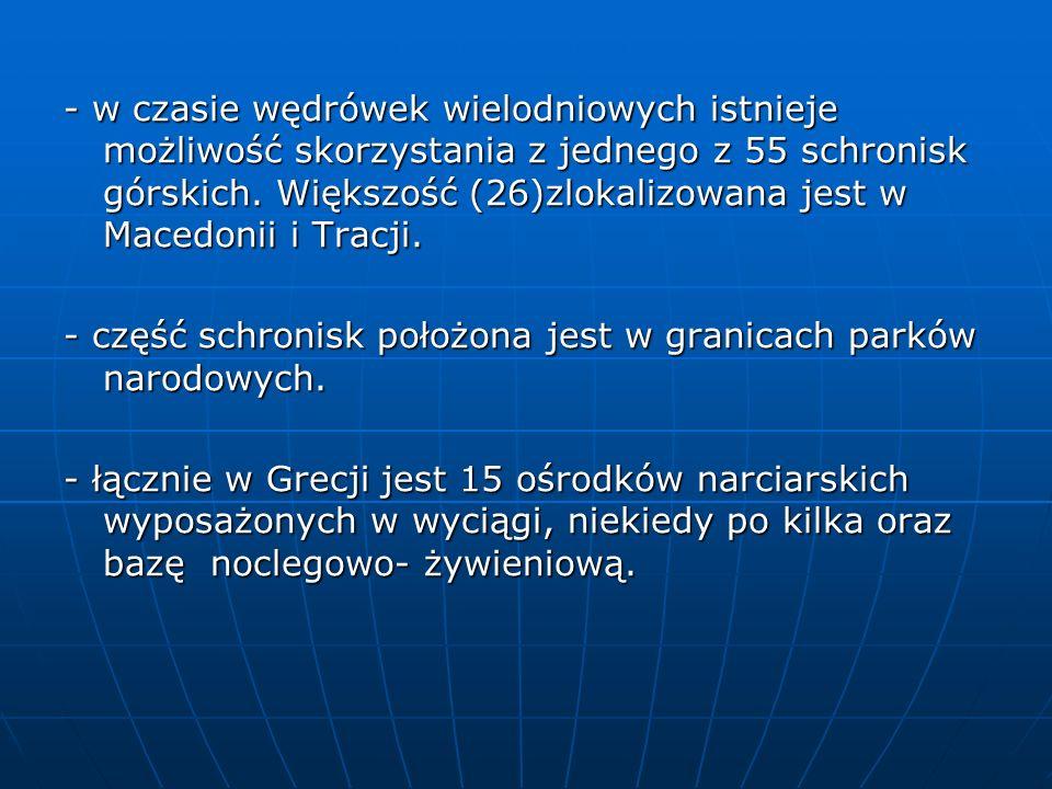 - w czasie wędrówek wielodniowych istnieje możliwość skorzystania z jednego z 55 schronisk górskich. Większość (26)zlokalizowana jest w Macedonii i Tr