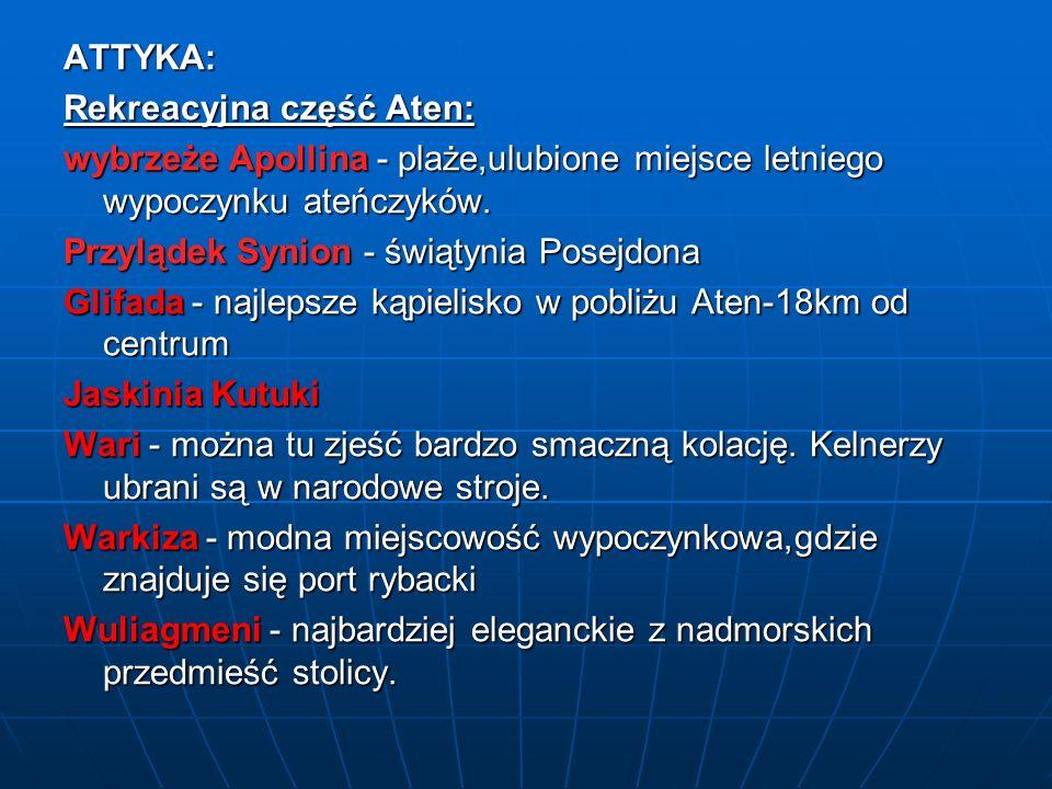 ATTYKA: Rekreacyjna część Aten: wybrzeże Apollina - plaże,ulubione miejsce letniego wypoczynku ateńczyków. Przylądek Synion - świątynia Posejdona Glif