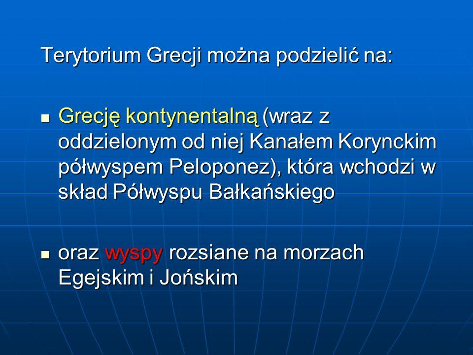 Grecja wyspiarska 2000 wysp 2000 wysp 10% ludności Grecji żyje na wyspach 10% ludności Grecji żyje na wyspach Każda ma swoją własną historię Każda ma swoją własną historię Najprostszy wydaje się podział na wyspy Morza Egejskiego i Jońskiego oraz Kretę Najprostszy wydaje się podział na wyspy Morza Egejskiego i Jońskiego oraz Kretę