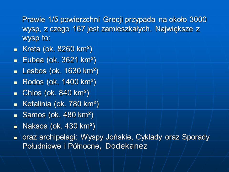 Prawie 1/5 powierzchni Grecji przypada na około 3000 wysp, z czego 167 jest zamieszkałych. Największe z wysp to: Prawie 1/5 powierzchni Grecji przypad