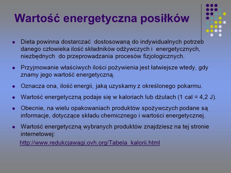Wartość energetyczna posiłków Dieta powinna dostarczać dostosowaną do indywidualnych potrzeb danego człowieka ilość składników odżywczych i energetycznych, niezbędnych do przeprowadzania procesów fizjologicznych.