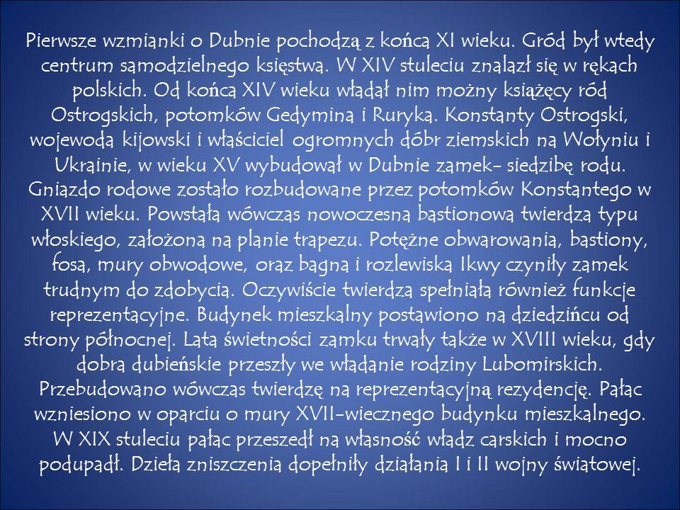 Pierwsze wzmianki o Dubnie pochodz ą z ko ń ca XI wieku. Gród był wtedy centrum samodzielnego ksi ę stwa. W XIV stuleciu znalazł si ę w r ę kach polsk