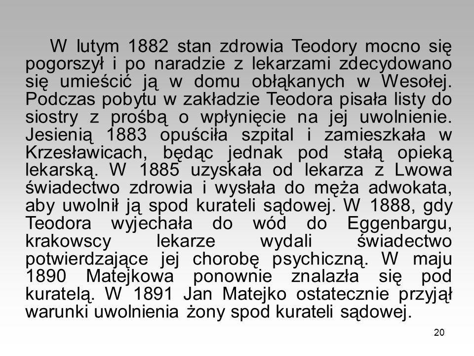 20 W lutym 1882 stan zdrowia Teodory mocno się pogorszył i po naradzie z lekarzami zdecydowano się umieścić ją w domu obłąkanych w Wesołej.