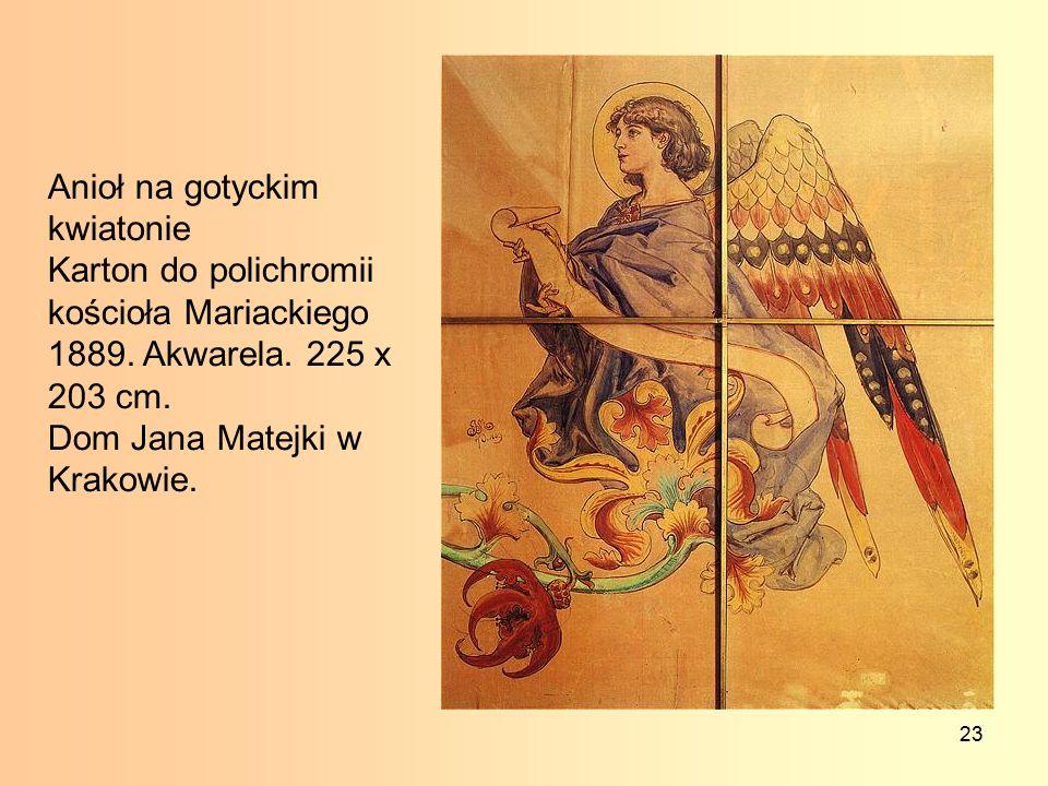 23 Anioł na gotyckim kwiatonie Karton do polichromii kościoła Mariackiego 1889.