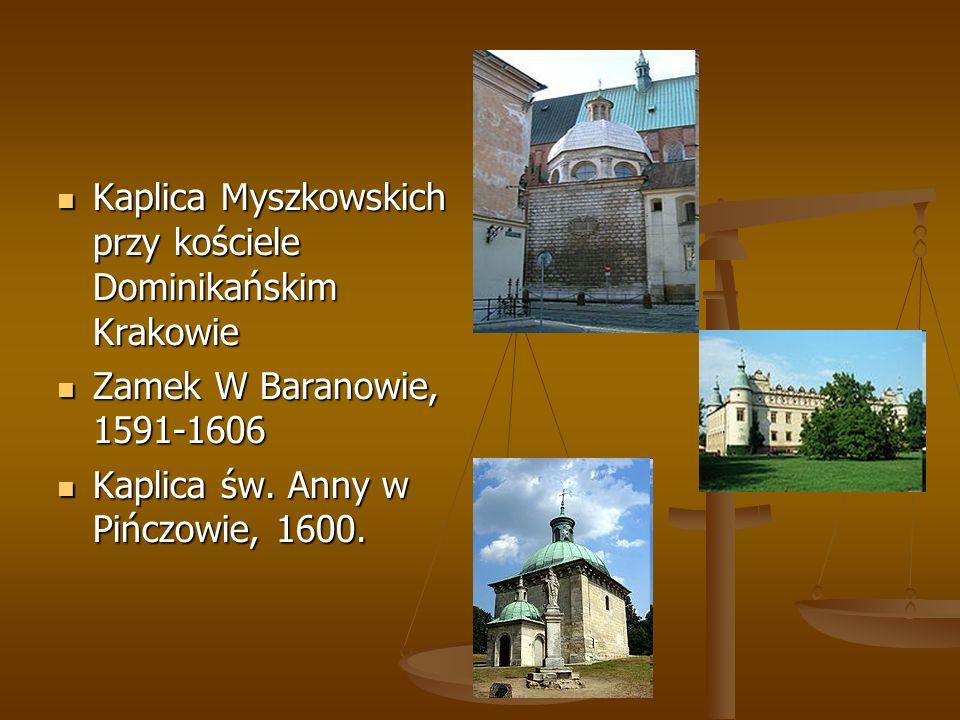 Kaplica Myszkowskich przy kościele Dominikańskim Krakowie Kaplica Myszkowskich przy kościele Dominikańskim Krakowie Zamek W Baranowie, 1591-1606 Zamek W Baranowie, 1591-1606 Kaplica św.