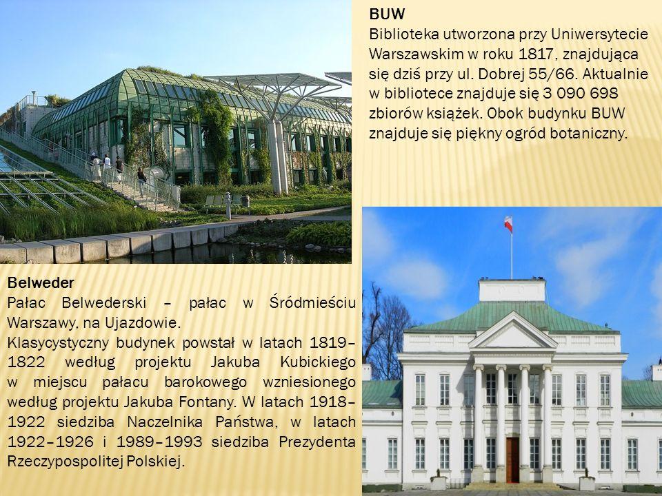 Centrum Nauki Kopernik Pierwszy moduł budynku Centrum został otwarty 5 listopada 2010 roku wraz z pięcioma galeriami, Jest to największe centrum nauki w Polsce, jedno z większych w Europie Środkowo-Wschodniej Cytadela Po upadku powstania listopadowego twierdza była punktem kontrolno- pacyfikacyjnym na całą Warszawę, będącą ośrodkiem polskiego ruchu niepodległościowego.