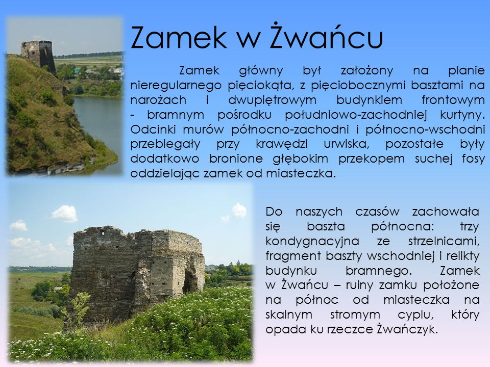 Zamek w Żwańcu Zamek główny był założony na planie nieregularnego pięciokąta, z pięciobocznymi basztami na narożach i dwupiętrowym budynkiem frontowym