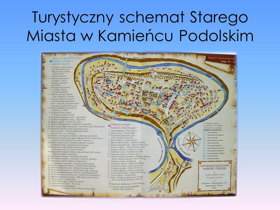 Turystyczny schemat Starego Miasta w Kamieńcu Podolskim