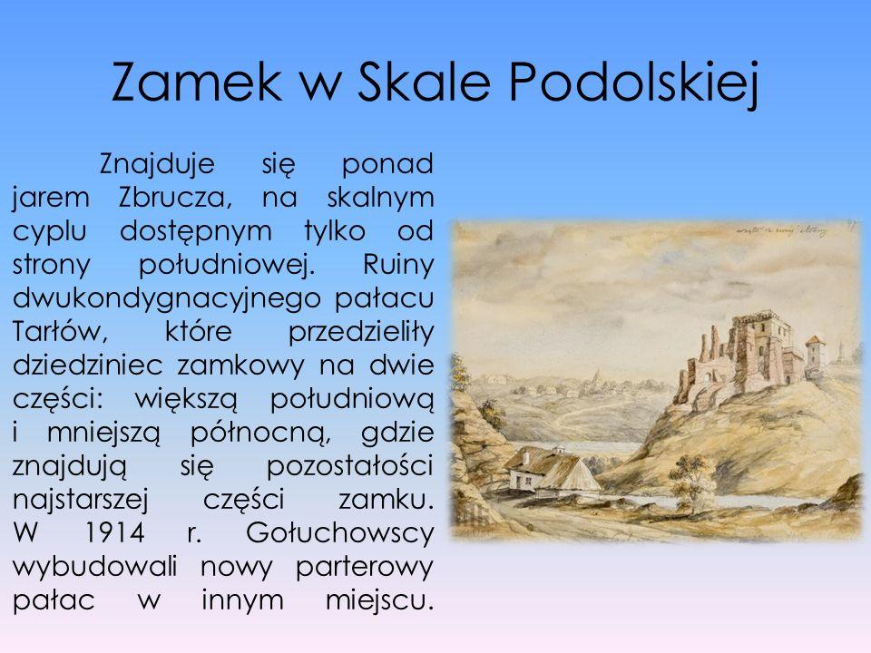 Zamek w Skale Podolskiej Znajduje się ponad jarem Zbrucza, na skalnym cyplu dostępnym tylko od strony południowej. Ruiny dwukondygnacyjnego pałacu Tar