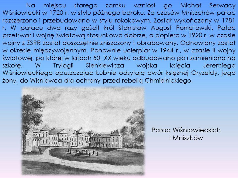 Na miejscu starego zamku wzniósł go Michał Serwacy Wiśniowiecki w 1720 r. w stylu późnego baroku. Za czasów Mniszchów pałac rozszerzono i przebudowano