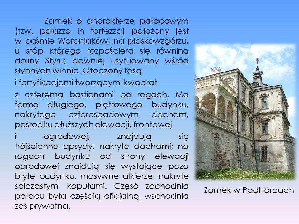 Zamek o charakterze pałacowym (tzw. palazzo in fortezza) położony jest w paśmie Woroniaków, na płaskowzgórzu, u stóp którego rozpościera się równina d