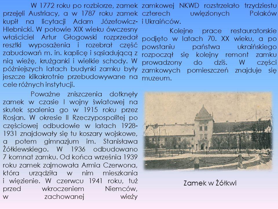 W 1772 roku po rozbiorze, zamek przejęli Austriacy, a w 1787 roku zamek kupił na licytacji Adam Józefowicz- Hlebnicki. W połowie XIX wieku ówczesny wł