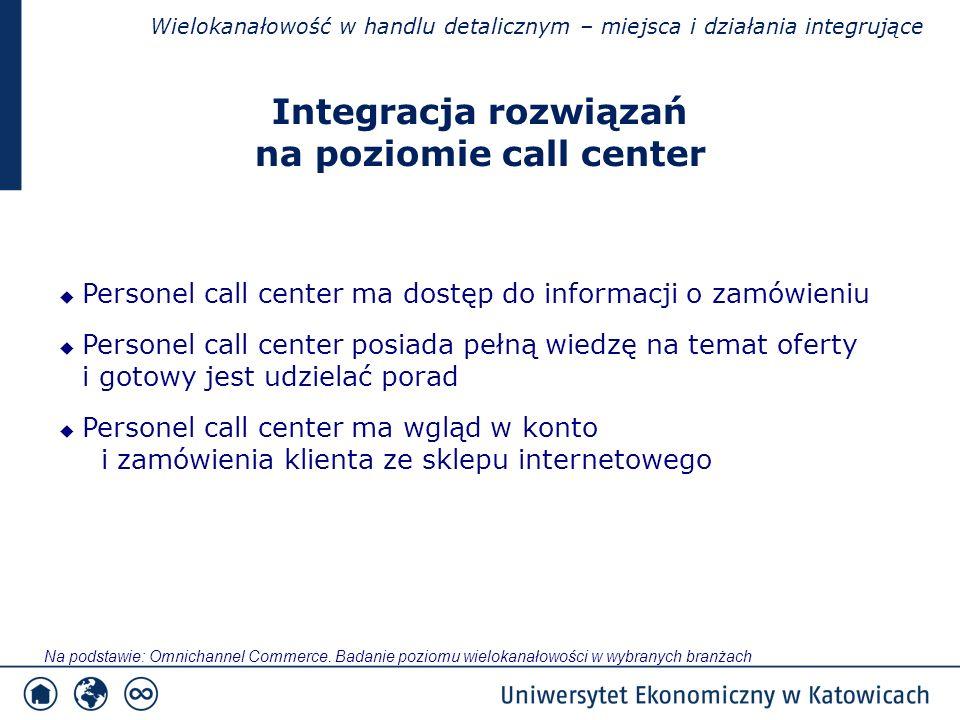 Wielokanałowość w handlu detalicznym – miejsca i działania integrujące  Personel call center ma dostęp do informacji o zamówieniu  Personel call center posiada pełną wiedzę na temat oferty i gotowy jest udzielać porad  Personel call center ma wgląd w konto i zamówienia klienta ze sklepu internetowego Integracja rozwiązań na poziomie call center Na podstawie: Omnichannel Commerce.