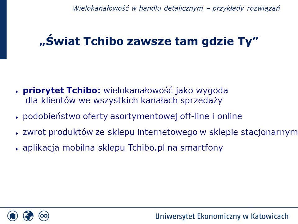 """Wielokanałowość w handlu detalicznym – przykłady rozwiązań ♦ priorytet Tchibo: wielokanałowość jako wygoda dla klientów we wszystkich kanałach sprzedaży ♦ podobieństwo oferty asortymentowej off-line i online ♦ zwrot produktów ze sklepu internetowego w sklepie stacjonarnym ♦ aplikacja mobilna sklepu Tchibo.pl na smartfony """"Świat Tchibo zawsze tam gdzie Ty"""