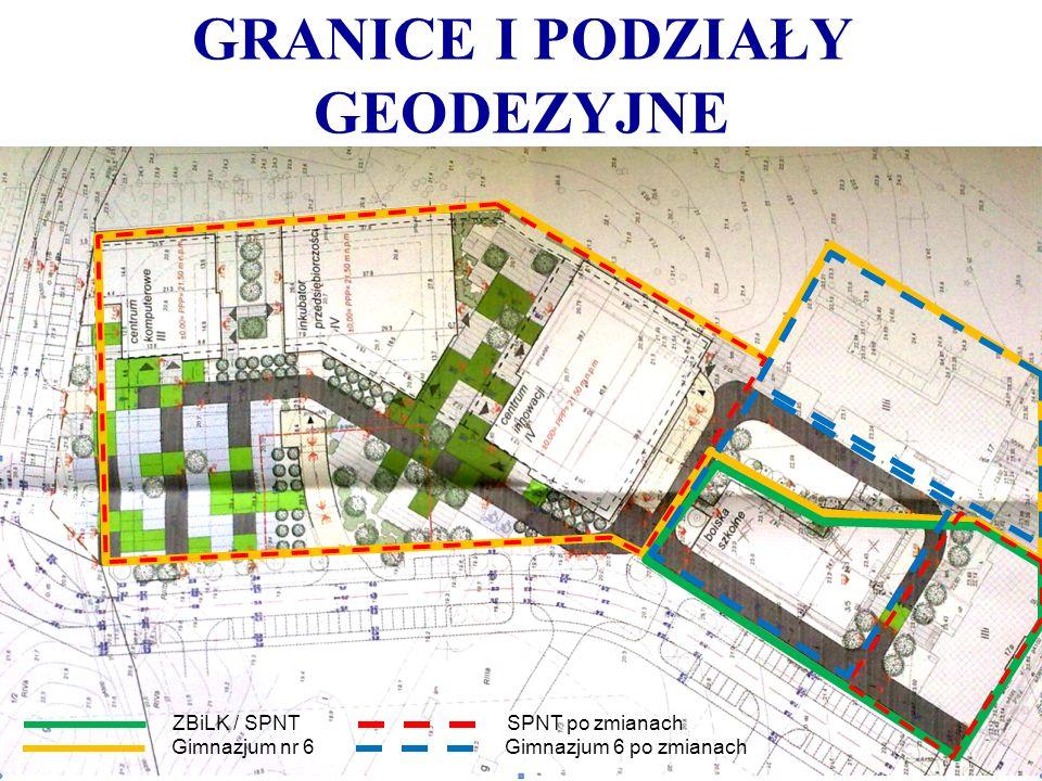 GRANICE I PODZIAŁY GEODEZYJNE ZBiLK / SPNT Gimnazjum nr 6 SPNT po zmianach Gimnazjum 6 po zmianach