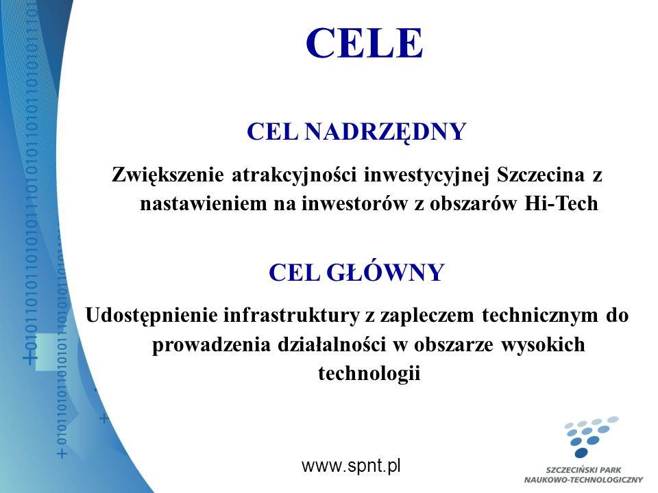 CELE www.spnt.pl CEL NADRZĘDNY Zwiększenie atrakcyjności inwestycyjnej Szczecina z nastawieniem na inwestorów z obszarów Hi-Tech CEL GŁÓWNY Udostępnienie infrastruktury z zapleczem technicznym do prowadzenia działalności w obszarze wysokich technologii