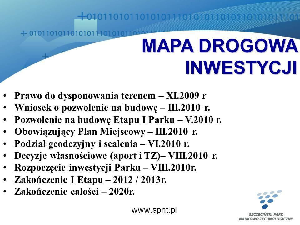 MAPA DROGOWA INWESTYCJI Prawo do dysponowania terenem – XI.2009 r Wniosek o pozwolenie na budowę – III.2010 r.