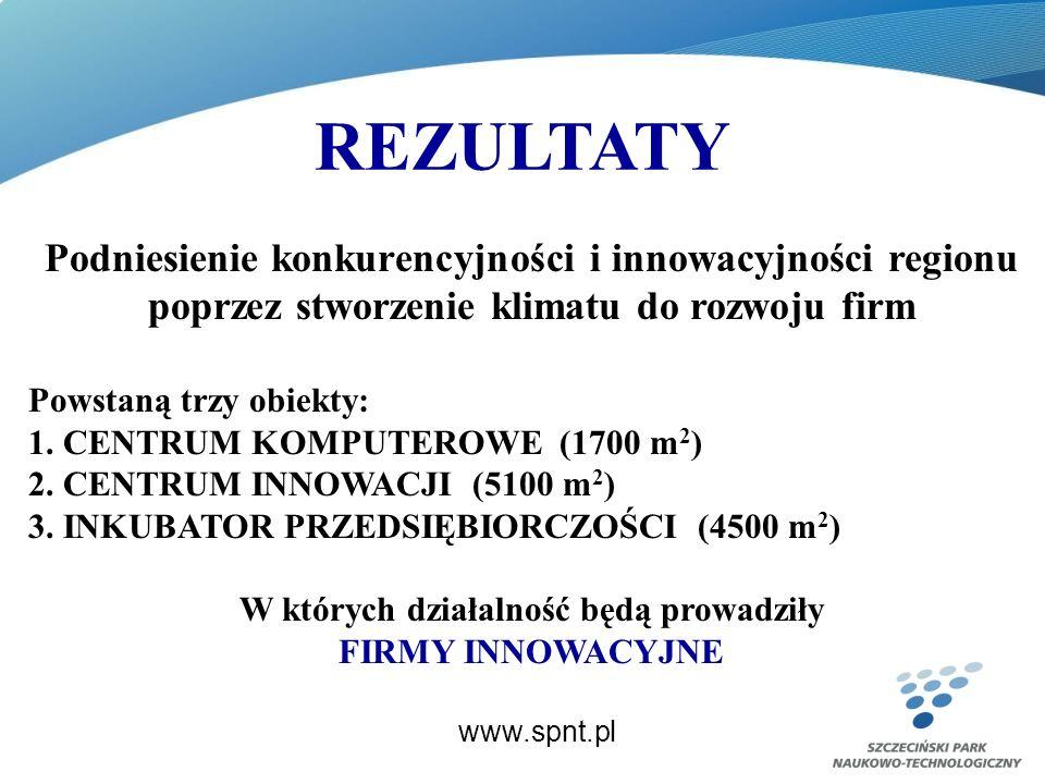 REZULTATY www.spnt.pl Podniesienie konkurencyjności i innowacyjności regionu poprzez stworzenie klimatu do rozwoju firm Powstaną trzy obiekty: 1.