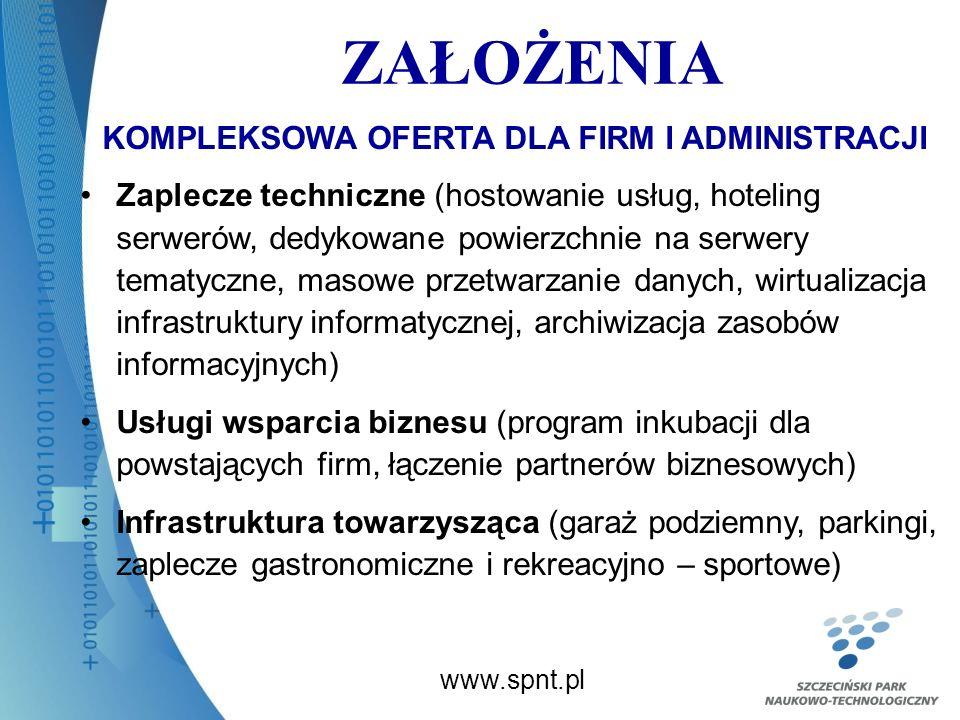 ZAŁOŻENIA www.spnt.pl KOMPLEKSOWA OFERTA DLA FIRM I ADMINISTRACJI Zaplecze techniczne (hostowanie usług, hoteling serwerów, dedykowane powierzchnie na serwery tematyczne, masowe przetwarzanie danych, wirtualizacja infrastruktury informatycznej, archiwizacja zasobów informacyjnych) Usługi wsparcia biznesu (program inkubacji dla powstających firm, łączenie partnerów biznesowych) Infrastruktura towarzysząca (garaż podziemny, parkingi, zaplecze gastronomiczne i rekreacyjno – sportowe)