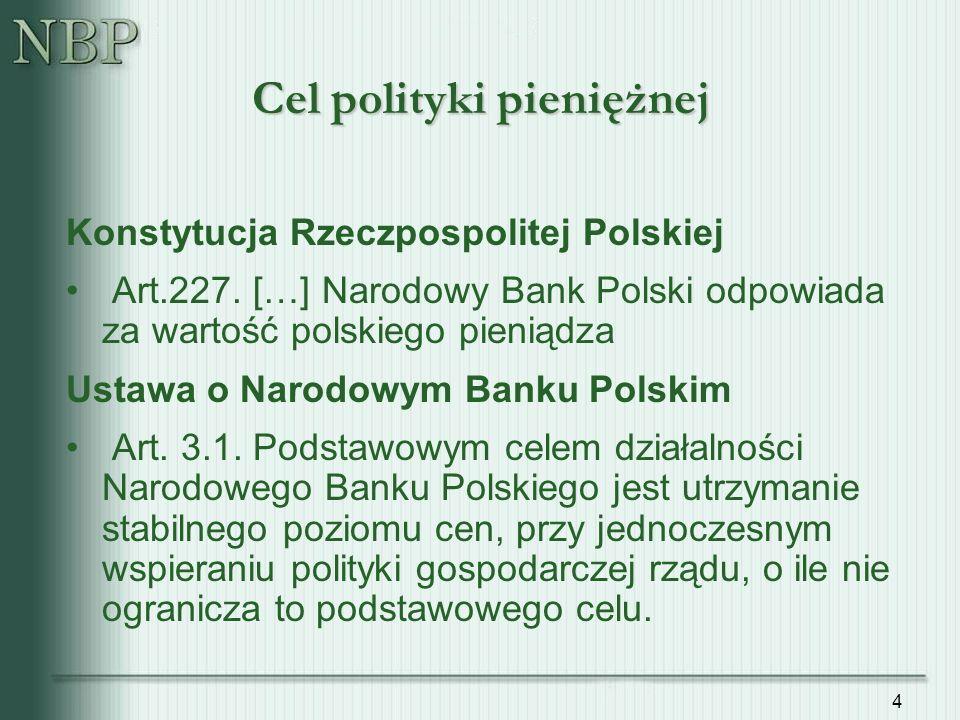 4 Cel polityki pieniężnej Konstytucja Rzeczpospolitej Polskiej Art.227.