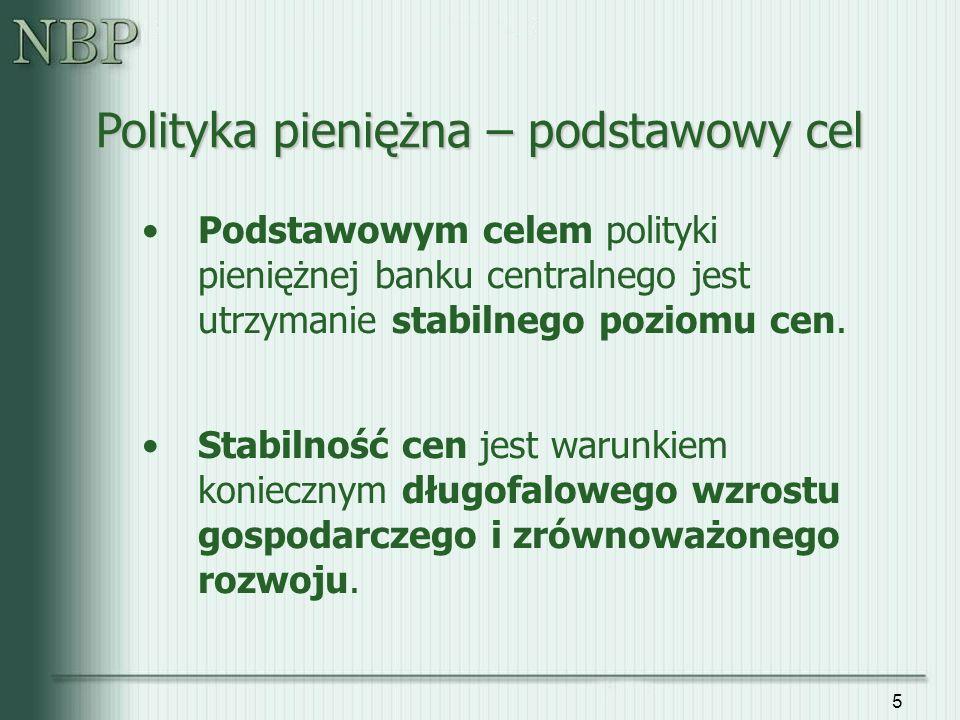 36 Obecnie strategia BCI w Polsce polega na: Między zmianami stóp NBP a ich wpływem na inflację istnieją długie opóźnienia (kilka kwartałów) Biorąc pod uwagę opóźnienia w transmisji impulsów monetarnych Rada Polityki Pieniężnej (RPP) tak dostosowuje poziom podstawowych stóp procentowych NBP, aby maksymalizować prawdopodobieństwo osiągnięcia celu inflacyjnego w przyszłości (za kilka kwartałów).