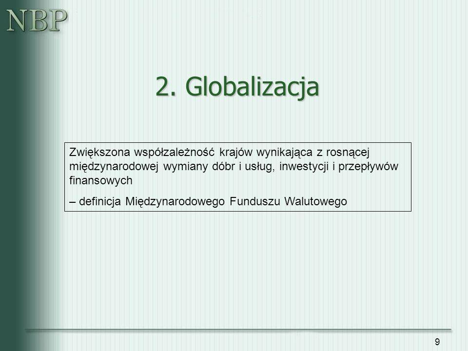 9 2. Globalizacja Zwiększona współzależność krajów wynikająca z rosnącej międzynarodowej wymiany dóbr i usług, inwestycji i przepływów finansowych – d
