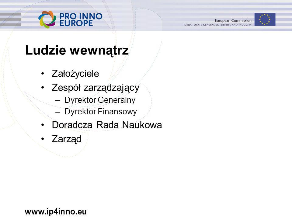 www.ip4inno.eu Ludzie wewnątrz Założyciele Zespół zarządzający –Dyrektor Generalny –Dyrektor Finansowy Doradcza Rada Naukowa Zarząd