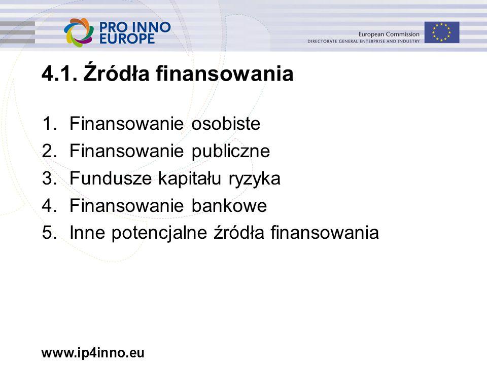 www.ip4inno.eu 1.Finansowanie osobiste 2.Finansowanie publiczne 3.Fundusze kapitału ryzyka 4.Finansowanie bankowe 5.Inne potencjalne źródła finansowania 4.1.