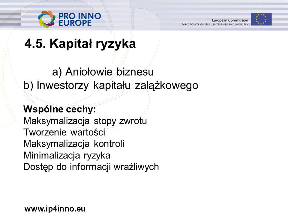 www.ip4inno.eu a) Aniołowie biznesu b) Inwestorzy kapitału zalążkowego Wspólne cechy: Maksymalizacja stopy zwrotu Tworzenie wartości Maksymalizacja kontroli Minimalizacja ryzyka Dostęp do informacji wrażliwych 4.5.